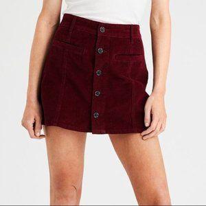 American Eagle Maroon Corduroy Button Skirt